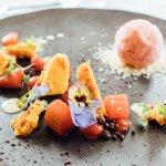 Poached Cornish Rhubarb & Sorbet