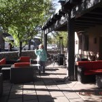 Sage Inn, outside seating area, with fire pits......