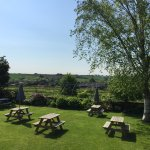 Stunning walled beer garden with Cotswold views