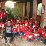 with school kids in Johannesburg Zoo