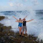 Getting soaked at the blowholes holes. Bring secure footwear, e.g. water shoes, and a towe.