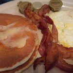 pecan pancakes with eggs and bacon