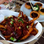 Pulled pork poutine; Yorkshire pudding