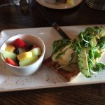 They call this the BLT Benedict, you could have various sides, I had fruit, about $10.