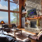 This large cabin offers an impressive view from the Main Level rooms.