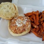 Shrimp Burger & Sweet Potato Fries
