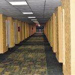 Long, wide hallway. Each room has the bedroom window facing this hallway.