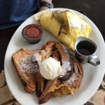 Breakfast burrito with cinnamon swirl french toast.