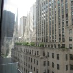 Corner room with views of Rockefeller Center, St Patricks Cathedral and Radio City Music Hall