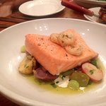 Salmon baked in parchment with baby shrimp, and new potato salad