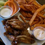 Honey garlic wings and sweet potato fries