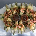 Grilled shrimp and pineapple kabob.  Taste the RAIN!