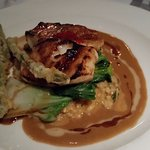 Chilean sea bass with miso glaze and lobster risotto.