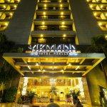 Armada Hotel Manila facade at night