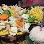 The vegies, noodles and rice