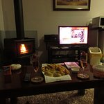Romantic dinner for 2 with a borrowed dvd and fire