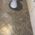 dirty grout between floor tiles. so old.