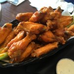 Basket of Buffalo Chicken Wings and blue cheese dip