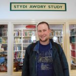 Me in front of the Rev W Awdry study at Tywyn.