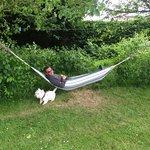 Neil in a hammock with Harry
