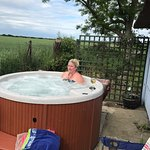 Me in our private hot tub