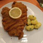Wiener Schnitzel mit frischen Kartoffeln und Gurkensalat