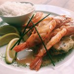 The grilled Kingklip and Prawns with Lemon Butter sauce