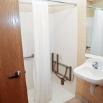 Handicap bathroom allows easy access and roll in shower