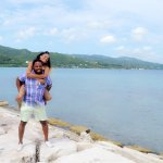 My boyfriend and I taking pictures at Secrets Resort.