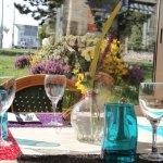 décoration de table vue sur le jardin