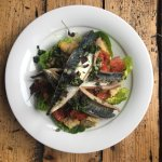 Cornish Mackerel Fillet, Panzanella, Baby Gem, Salsa Verde