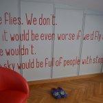 Cheerful sayings on closet doors