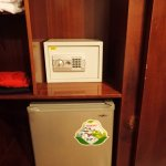Safe and refrigerator in the room