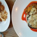 Crab cake and fried oysters