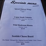 The Specials Menu - I chose the Scottish cheeseboard.