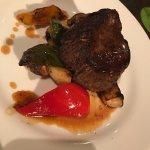 Beef steak, slightly overcooked, but taste fresh and juicy.