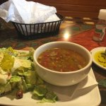 lentil soup and house salad and bread