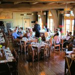 The Cascade Dining Room at Timberline Lodge on Mt. Hood features elaborate breakfast & lunch buf