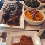 Oxtails, Rice and Beans, Collard Greens