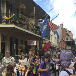 Mardi Gras Day mayhem in front of the Andrew Jackson Hotel. The most fun ever!