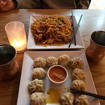 Combination chowmein and beef momo- fantastic!