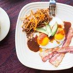 Bacon, Eggs, and Chorizo Hash