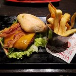 Smoke & Pepper cheeseburger with steak fries(bottom less) Psst. we didn't get anymore:-(