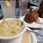Corn Chowder and Carrot Raisin Muffin