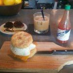cheddar biscuit with egg and fried chicken, Alder Punch, chocolate doughnut