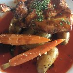 Brick Chicken- comes with potatoes and carrots in a spicy-ish sauce