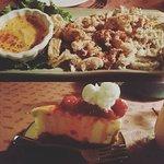 Calamari Appetizer & Cheesecake Dessert