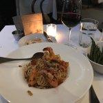 Shrimp on spaghetti with garlic green beans