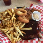 Smoked ribs, smoked chicken breast, hush puppies and a double order of fresh cut french fries
