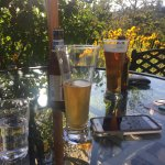 Lovely late afternoon wine/beer and hors d'oeuvres on the patio...